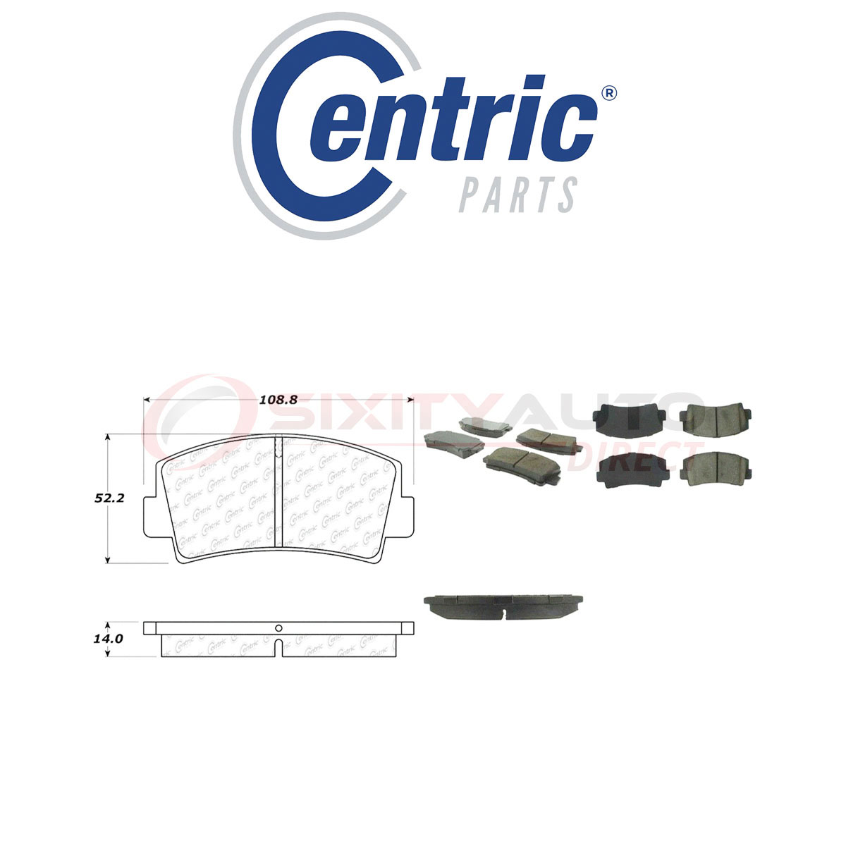Centric Posi Quiet Ceramic Brake Pads w Shims for 2015-2018 Ford Mustang lk